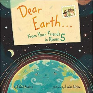 Cover image for Dear Earth with an illustration of a letter and Earth