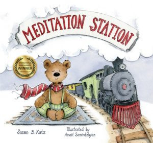 Cover image of Meditation Station (a meditating bear and a train)