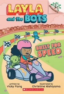 Cover image of a brown-skinned girl and robots driving a kart