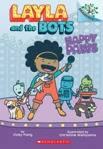 Cover image of a brown-skinned girl and three robots in a band